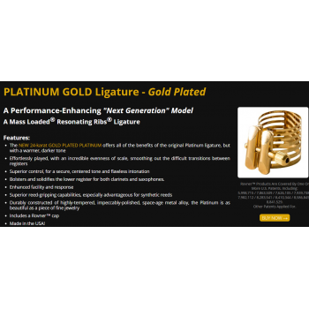 Rovner Home - Products Ligatures Next Generation Models PLATINUM GOLD Ligature - Gold Plated