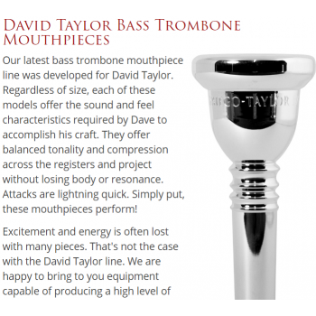 Griego - Bass Trombone-David Taylor Bass Trombone Mouthpieces