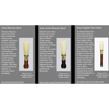 Jones-Reeds-Bassoon Reeds Jones 201 Jones Artist 201A Jones English Horn 301